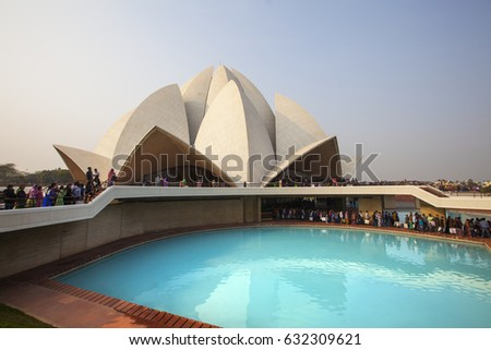 NEW DELHI, INDIA - JANUARY 21: Lotus Temple in Delhi. January 21, 2017 New Delhi, India.The Bahai House of Worship in New Delhi, popularly known as the Lotus Temple due to its flowerlike shape.