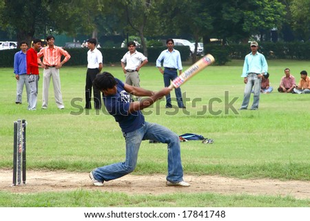 NEW DELHI, INDIA - 16 July: A group of university students in New Delhi during training at the cricket on July 16, 2008.
