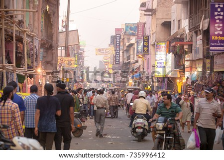 NEW DELHI, INDIA 2 MAY 2016 : Paharganj street near central station railway. popular spot for backpackers to stop before going around INDIA.