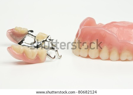 new dentures, braces - stock photo