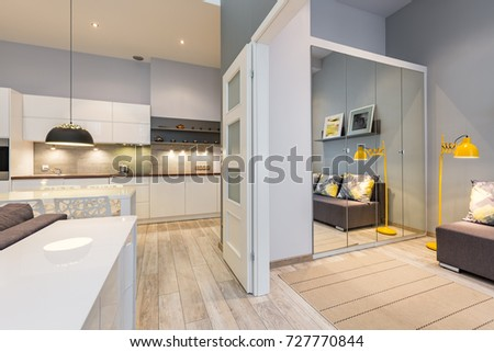 New design apartment with functional kitchen and white sliding door #727770844