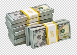 New design dollar bucks or bundles stack of bundle of 100 US dollars detail on isolated background. Including clipping path
