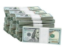 New design dollar bundles isolated on white background. 100- hundred dollar bucks. Including clipping path
