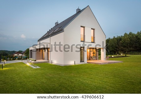 New design light house with wide lawn and decorative outdoor lighting, external view #439606612