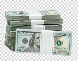 New design US 100 American dollar bundles on isolated  background. Including clipping path