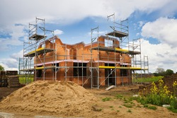 new development area, house under construction, new build home, germany