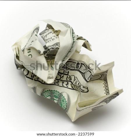 new 100 dollar bill crumbled