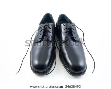 New dress shoes with a white background. - stock photo