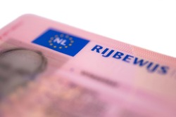 New Dutch pink driver's license in credit card format isolated on white background. Focus on on the first letters of the word RIJBEWIJS (drivers licence)