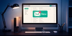 New email alert on computer, communication connection message to global letters in the workplace.