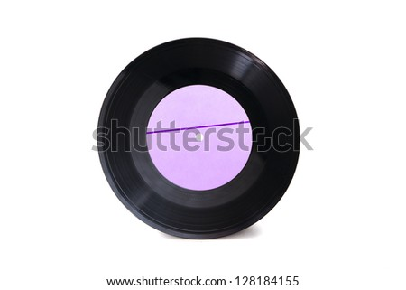 New empty purple with stripe gramophone vinyl record isolated on white background
