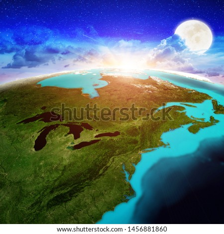 New England and Canada sunrise. Elements of this image furnished by NASA. 3d rendering #1456881860