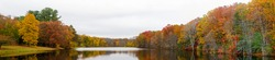 New England Autumn Foliage with Colorful Pond Reflection (Panoramic - Dean Park, Shrewsbury, MA)