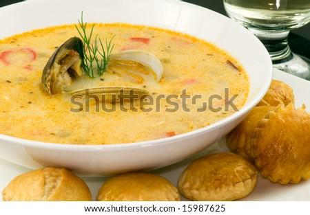 New England Clam Chowder, focus on shellfish