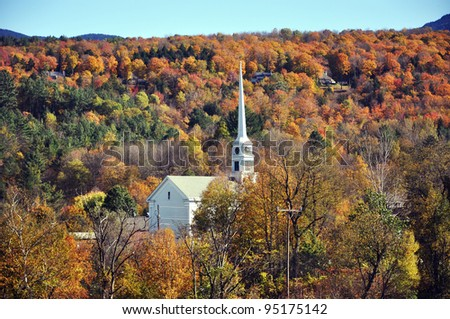 New England Fall Foliage in Stowe, Vermont, USA