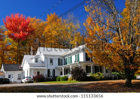 New England traditional houses in the fall, Vermont, USA - stock photo