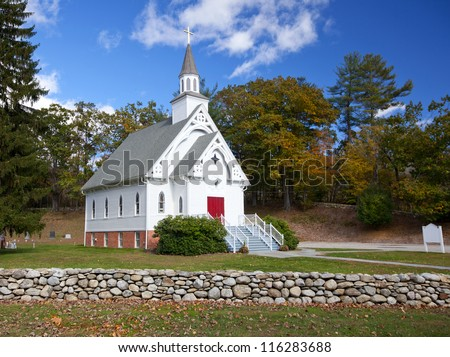 New England white church during the Fall