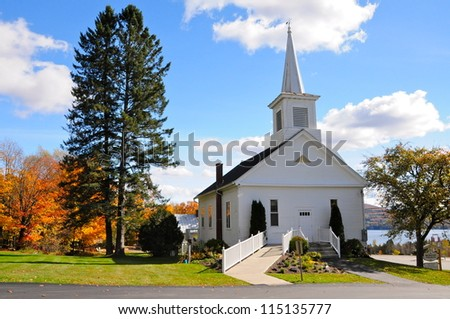 New England White Church, Morgan, Vermont, USA