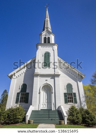 New England white wooden church