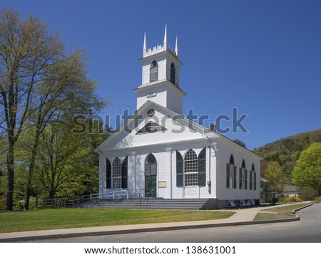 New England white wooden church in Newfane, Vermont, USA