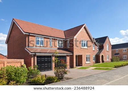 New english modern house with double garage