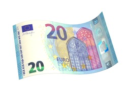 New 20 euro note, isolated