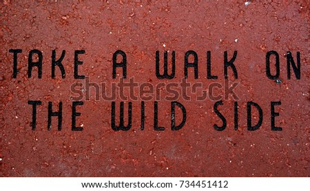 New Experiences Wallpaper. `Take A Walk On The Wild Side` Wallpaper and Background, with statement etched into red brick.  #734451412