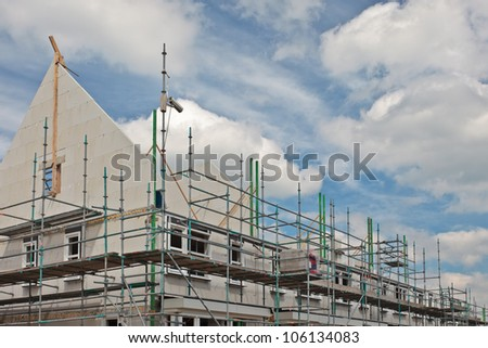 New family homes under construction, build in a row