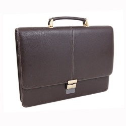 New fashion male business bag or briefcase in brown leather. Without shadows. Isolated on white background