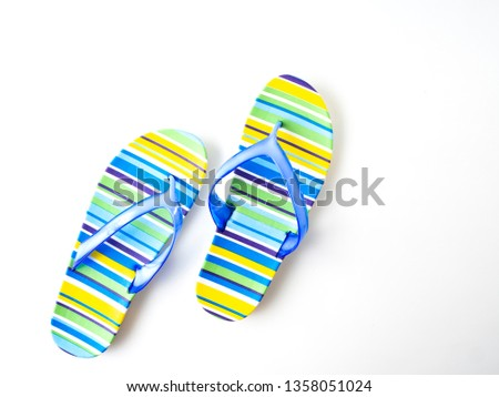 5d17e5aa4 New fashion slippers for woman. Beautifu Colorful striped flip flops on  white background.