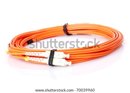 New Fibre Optic Network Cables on white background