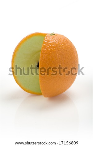 New Fruit - Orange skin on an apple with a missing slice
