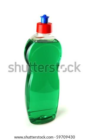 new full soap bottle on white background