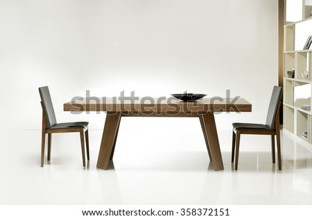 NEW FURNITURE LINE . MODERN DESIGN . STRAIGHT LINES . MATERIALS : WOOD ,  FABRIC, LEATHER . ITEMS : TABLE WITH CHAIR SET #358372151