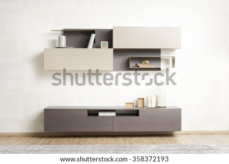 NEW FURNITURE LINE . MODERN DESIGN . STRAIGHT LINES . MATERIALS : WOOD , ITEMS : TV FURNITURE SET #358372193