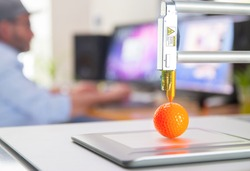 New generation of 3D Printing Machine printing a piece of plastic. For use in small spaces, Office or Private use