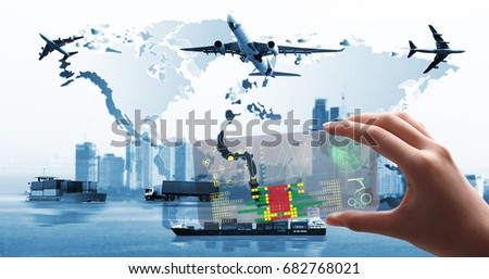new  generation use the transparent phone  latest technology present the  holography and  future and futuristic technology control Global business of  import export, Business logistics