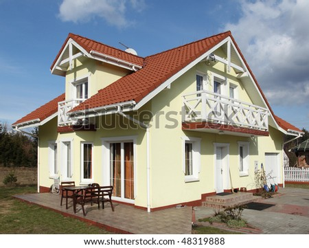 New generic single family home in Europe. Residential architecture.