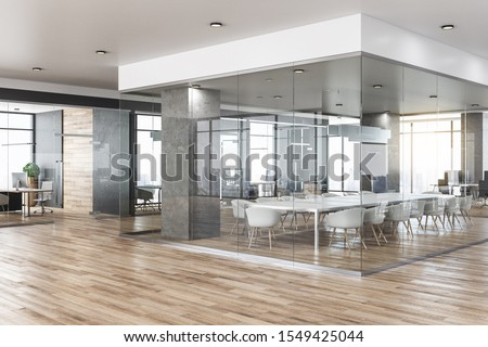 New glass concrete office interior with city view, daylight, wooden floor furniture and equipment. 3D Rendering