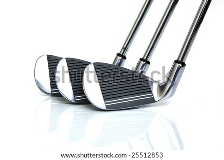 new golf clubs isolated against white background