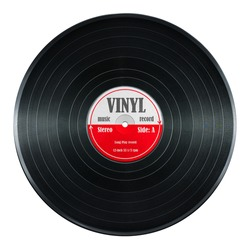New gramophone vinyl LP record with red label. Black musical long play album disc 33 rpm. old technology, realistic retro design, Photo art image illustration, isolated on white background with path.
