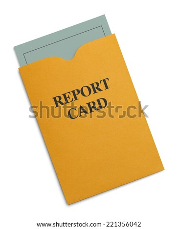 New Green Report Card Inside Yellow Envelope Isolated on White Background.