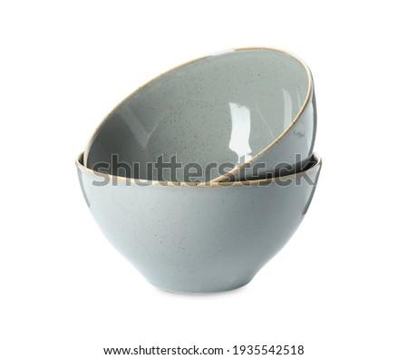 New grey ceramic bowls on white background Stock photo ©