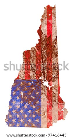 New Hampshire state of the United States of America in grunge flag pattern isolated on white background - stock photo