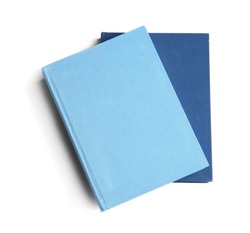 New hardcover books on white background