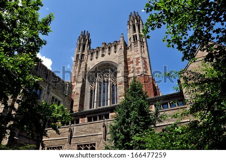 NEW HAVEN, CONNECTICUT:  The beautiful English gothic style Sterling Law School at Yale University