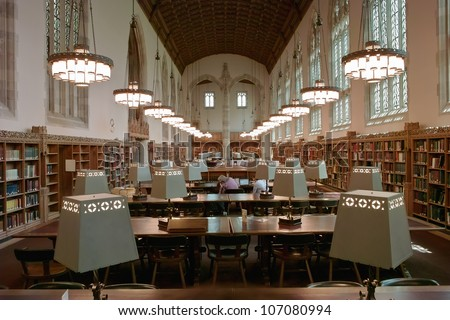 NEW HAVEN, CT - MAY 30, 2008: The main reading room of Sterling Library at Yale University in New Haven on May 30, 2008. Sterling Library was completed in 1931. - stock photo