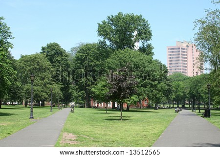 New Haven Green: a park in downtown New Haven, CT used for public events and bordered by Yale University.