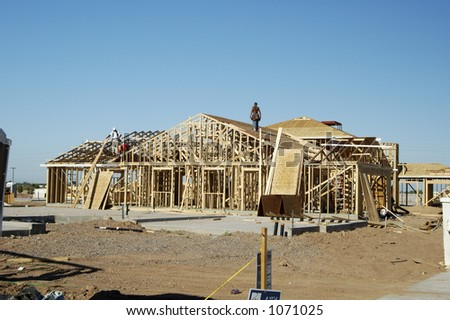 New home being built in a residential area.