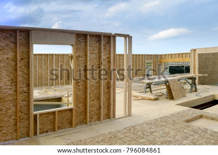 New Home House Construction Framing Lumber Builders Carpentry Craftsman #796084861